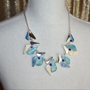 Vintage Abstract Fashion statement necklace blue